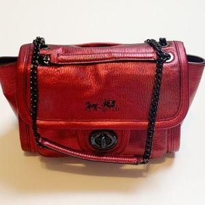 Coach Ranger Flap Red Metallic Crossbody Bag